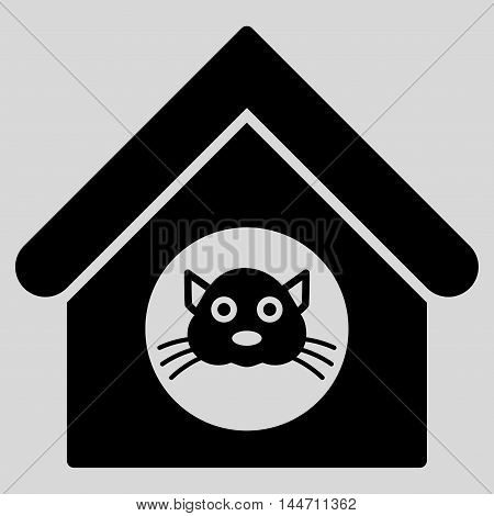 Cat House icon. Vector style is flat iconic symbol, black color, light gray background.
