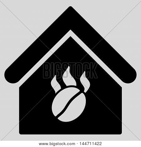 Coffee Shop icon. Vector style is flat iconic symbol, black color, light gray background.