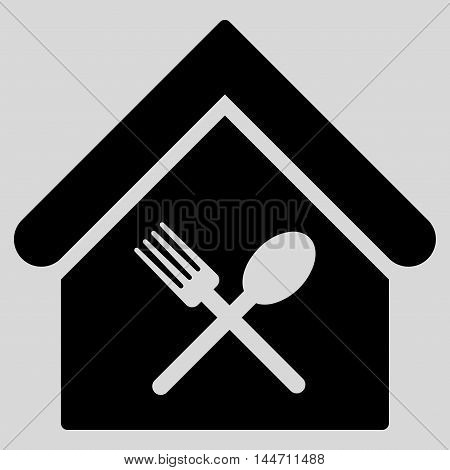 Food Court icon. Vector style is flat iconic symbol, black color, light gray background.