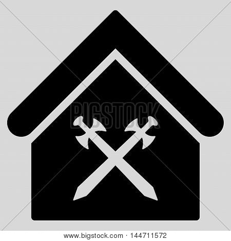 Guard Office icon. Vector style is flat iconic symbol, black color, light gray background.