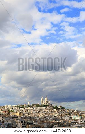 Rainy sky over Montmartre in Paris city France.