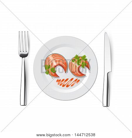 knife and fork plate with fish - vector illustration on white background