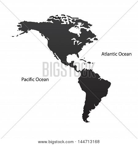 Two continents North and South America. Vector illustration