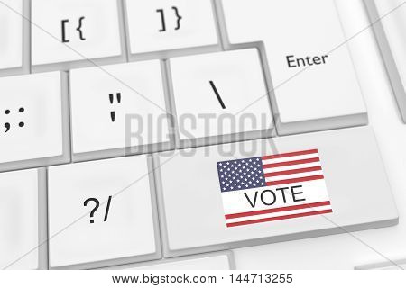 Computer Keyboard With US Flag Vote Button 3d illustration