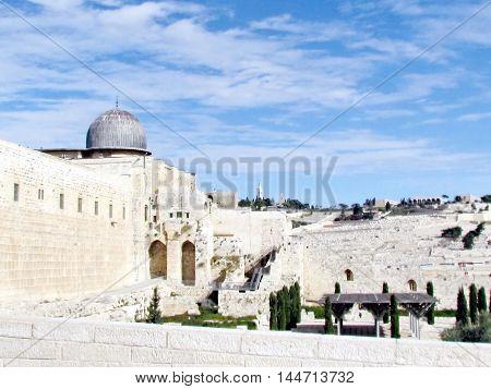 Jerusalem Israel - December 2 2012: Al-Aqsa Mosque on a background of Mount of Olives.