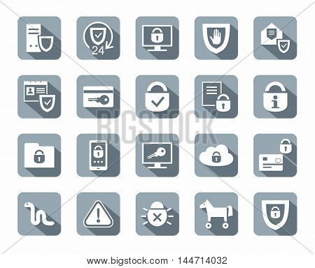 Protection of information, icons, monochromatic, gray. Information technology, data security system. Vector white icons on gray background with shadow.