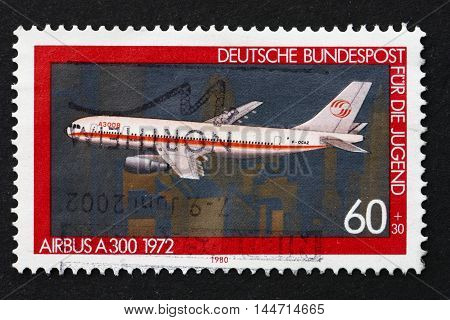 GERMANY - CIRCA 1980: a stamp printed in the Germany shows Airbus A300, 1972, Airplane, circa 1980