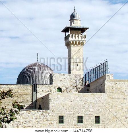 Jerusalem Israel - December 2 2012: Dome and minaret of Al-Aqsa Mosque in old city.