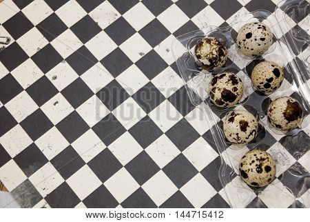 Plate With Quail Eggs Quail Eggs In A Wooden Bowl. Place For Text. Nutrition Protein Diet. Top View,