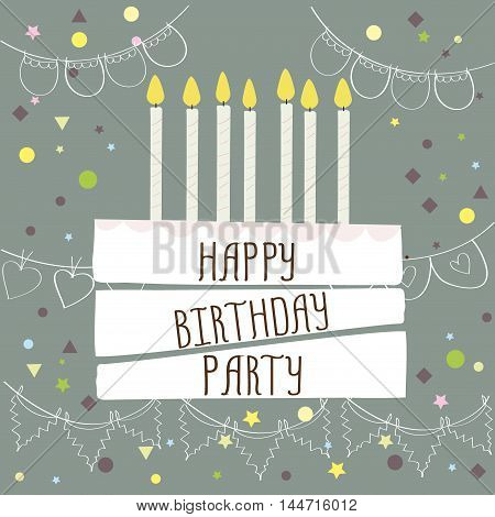 Happy birthday party , cute card with cake and candles. Vector illustration