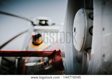 Detail of helicopter tail rotor during an airshow.