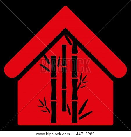 Bamboo House icon. Glyph style is flat iconic symbol, red color, black background.