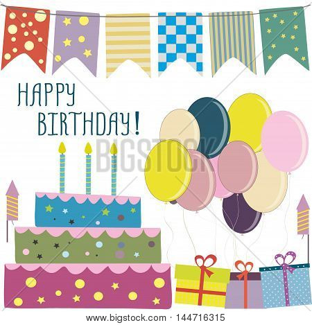 Happy birthday card, flags, cake, gifts, balloons. Vector illustration