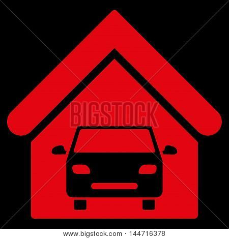 Car Garage icon. Glyph style is flat iconic symbol, red color, black background.