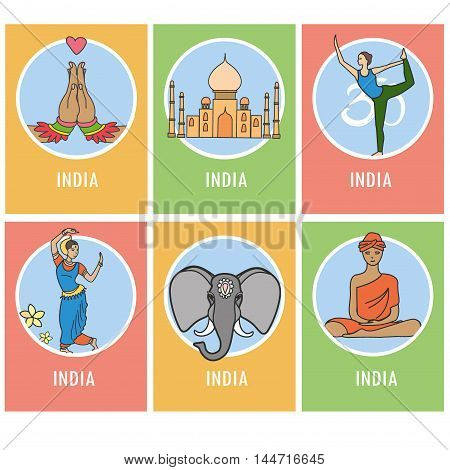 Set of India cartoon card or icons , vector illustration