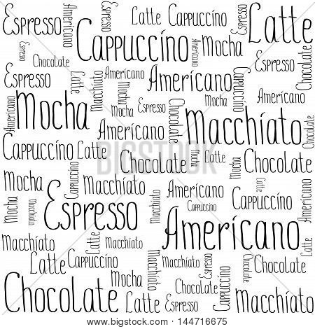 Coffee words background, vector illustration on white background