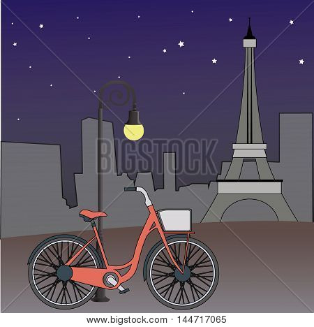 Bicycle leaning against a lamppost and Eiffel Tower in the background, night  Paris views, vector illustration