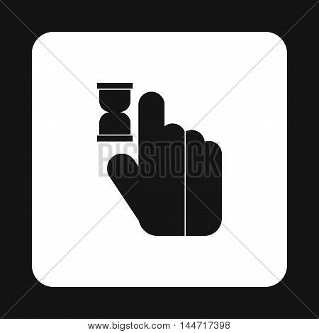 Cursor hand in anticipation icon in simple style isolated on white background. Computer and internet symbol