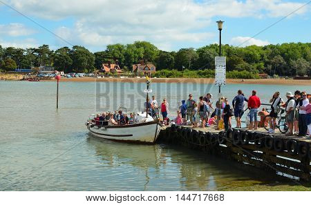 FELIXSTOWE, SUFFOLK, ENGLAND - AUGUST 29, 2016: To many people trying to board the ferry to cross the river Deben at Fekixstowe Ferry.