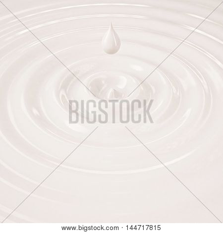 3D cream or milk liquid drop with waves