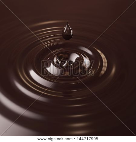 3D chocolate drop with waves in water background