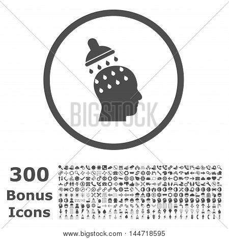 Brain Washing rounded icon with 300 bonus icons. Vector illustration style is flat iconic symbols, gray color, white background.