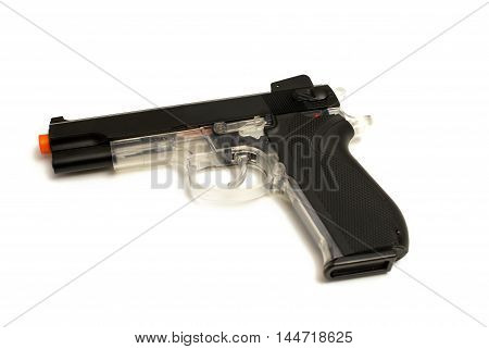 An isolated image of a hand style pellet pistol gun.