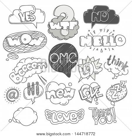 Different sketch style words collection. Vector doodles set