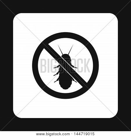 Prohibition sign coleoptera icon in simple style isolated on white background. Warning symbol