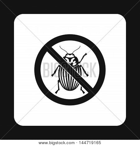Prohibition sign colorado beetles icon in simple style isolated on white background. Warning symbol