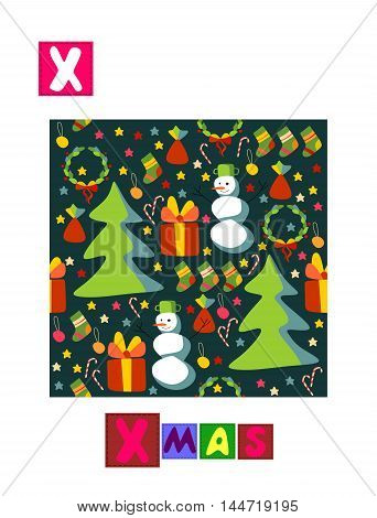 Cute cartoon english alphabet with colorful image and word. Kids vector ABC on white background. Letter X.