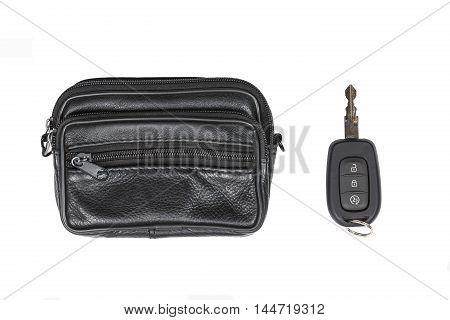 car key and black documents bag isolated on white background