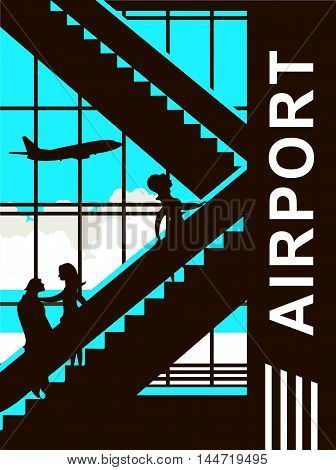vector illustration of the airport building waiting room large picture window people silhouettes mourners vertical poster the movement of the escalator to the upper floors