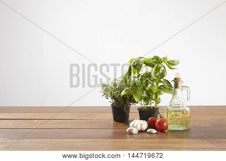 ingredient for pasta on the wooden table