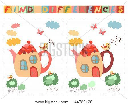 Find differences between two beautiful fairy houses - teapots. Cartoon vector illustration of education game for children.