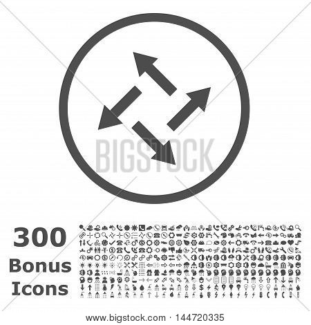 Centrifugal Arrows rounded icon with 300 bonus icons. Vector illustration style is flat iconic symbols, gray color, white background.