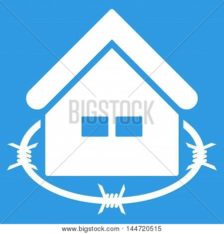Prison Building icon. Glyph style is flat iconic symbol, white color, blue background.