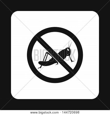 Prohibition sign grasshoppers icon in simple style isolated on white background. Warning symbol
