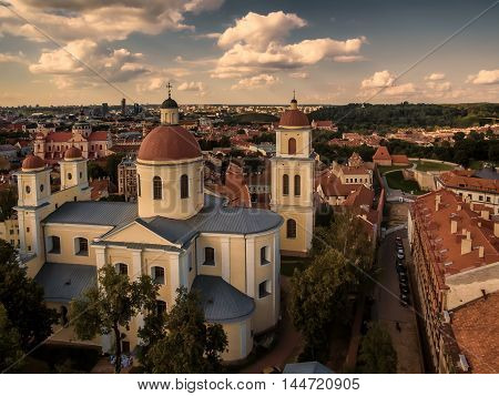 Aerial top view from UAV. Old Town in Vilnius, Lithuania: Orthodox Church and monastery of the Holy Spirit, Lithuanian: Staciatikiu sv. Dvasios cerkve ir vienuolynas