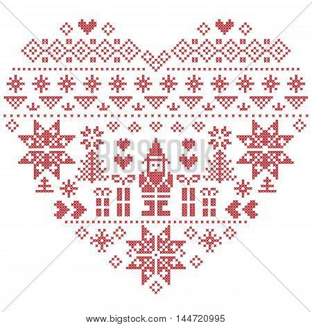 Heart Shape Scandinavian Printed Textile  style and inspired by  Norwegian Christmas and festive winter seamless pattern in cross stitch with Christmas tree, snowflakes, Santa Claus, hearts on white