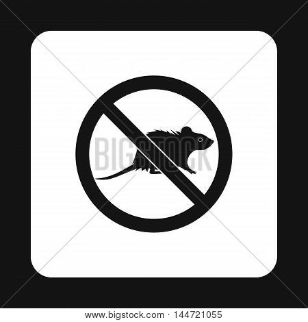 Prohibition sign mouse icon in simple style isolated on white background. Warning symbol