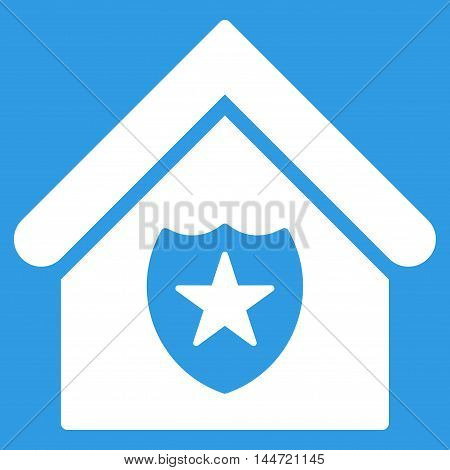 Realty Protection icon. Glyph style is flat iconic symbol, white color, blue background.