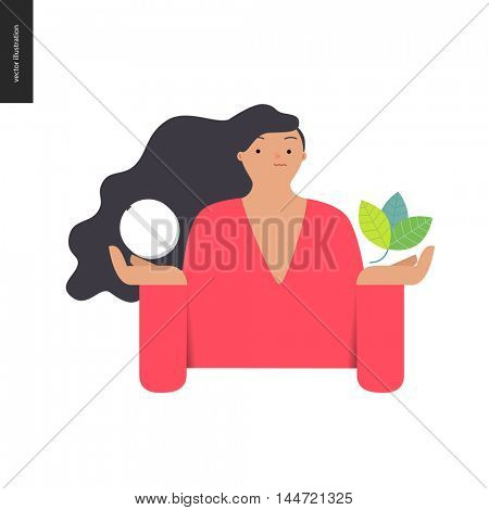 Choosing between an antibiotic pill and natural herbal treatment. Flat vector cartoon illustration of a woman holding a tablet in one hand and plant leaves in another.