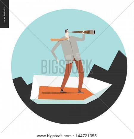 Businessman with a telescope in a boat. Flat vector concept cartoon illustration of a man wearing suit, looking through the telescope, standing in a small boat, surrounded by sharp waves, in a circle.