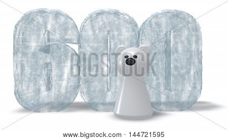 frozen number six hundred and polar bear - 3d rendering