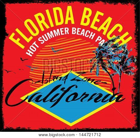Vector illustration summer theme california california. Vintage design. Typography; t-shirt graphics; print; poster; banner; flyer; postcard