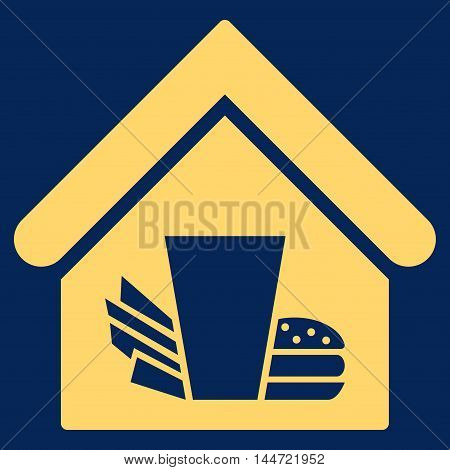 Fastfood Cafe icon. Glyph style is flat iconic symbol, yellow color, blue background.
