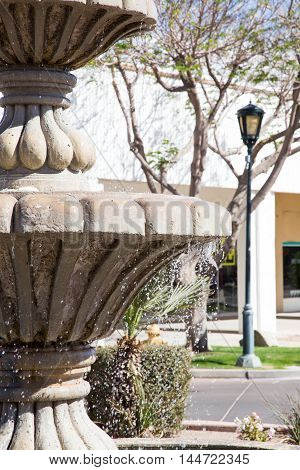 Close up of the fountain in historical downtown Yuma Arizona