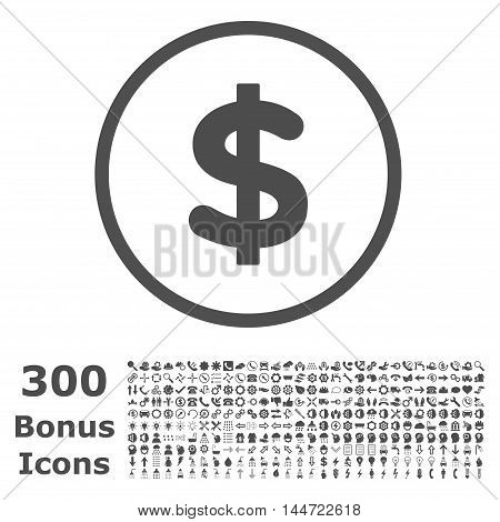 Dollar rounded icon with 300 bonus icons. Vector illustration style is flat iconic symbols, gray color, white background.