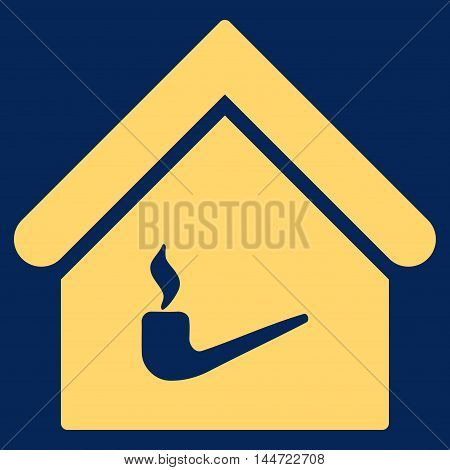 Smoking Room icon. Glyph style is flat iconic symbol, yellow color, blue background.